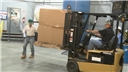 An avoidable forklift accident involving a forklift operator and a pedestrian in a warehouse
