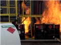 A workplace fire in an industrial setting that could have been prevented with safe work practices