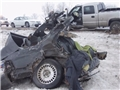 The mangled car that was struck by a drunk driver and resulted in the death of the innocent driver